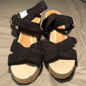 black woven strap espadrille wedges. Never worn.